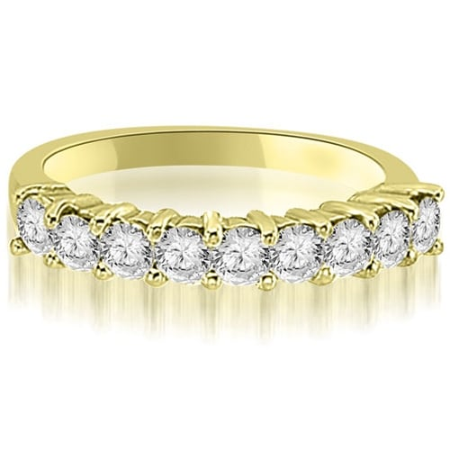 1.30 cttw. 14K Yellow Gold Round Diamond 9-Stone Prong Wedding Band