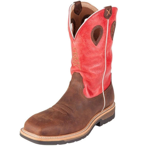 Twisted X Work Boot Mens CT Leather Waterproof Brown Red