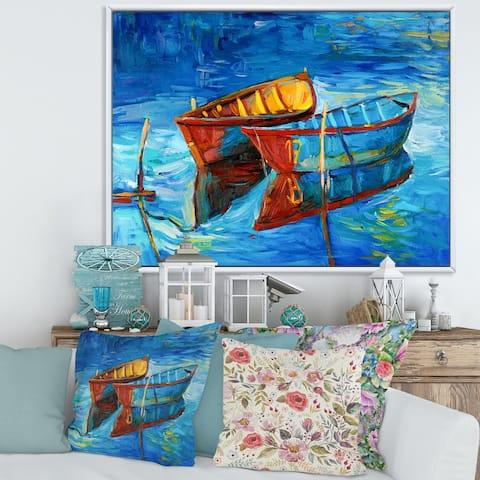 Designart 'Boat During Evening Glow At The Lake III' Nautical & Coastal Framed Canvas Wall Art Print
