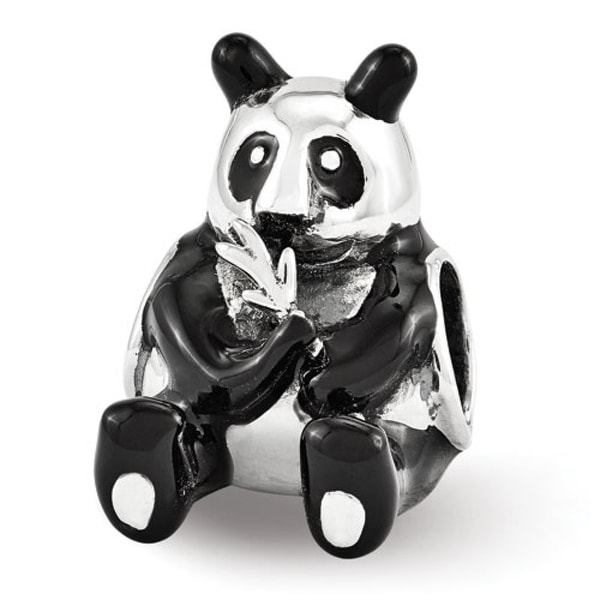 Sterling Silver Reflections Black Enamel Mama Panda Bead (4mm Diameter Hole)