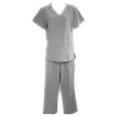 DSF Women's Four Stretch Scrub Set V-Neck Top Cargo Pants
