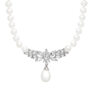 3 1/3 ct Created White Sapphire & Freshwater Pearl Necklace in 14K White Gold