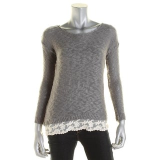 Hippie Rose Womens Juniors Boucle Lace Trim Pullover Sweater