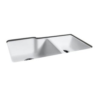 """Miseno MCI37-0UM 36"""" Cast Iron Double Basin Kitchen Sink for Undermount Installations with 60/40 Split and Sound Dampening"""