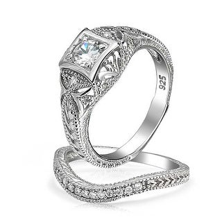 Link to 1CT AAA CZ Vintage Engagement Wedding Ring Set Gold Plated Sterling Similar Items in Rings