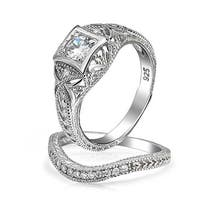 Bling Jewelry Antique Style 925 Silver Round CZ Vintage Style Waved Anniversary Wedding Ring Set