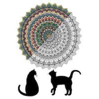 "Adult Coloring Canvas 16""X20"" W/12 Markers-Mandala Cat"