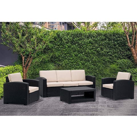 MCombo 6pcs Patio Furniture Set Outdoor Sectional Sofa Rattan Pattern Patio Conversation Set w/Seat Cushions 6050-700