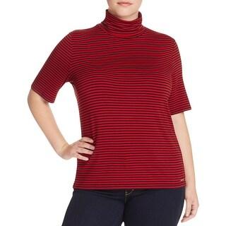 MICHAEL Michael Kors Womens Plus Pullover Top Pinstriped Short Sleeves - 3x