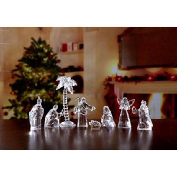"""8 Piece Icy Crystal Religious Pocket-Sized Nativity Sets in Velour Bags 5"""" - CLEAR"""
