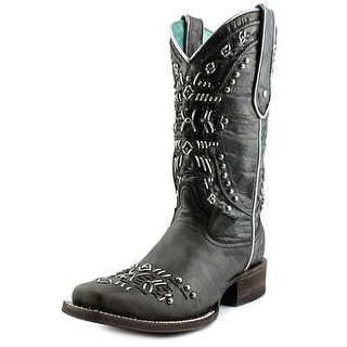 Corral Studded Knit Cowgirl Boots Women W Square Toe Leather Black Western Boot