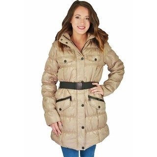 Urban Republic Juniors Long Belted Puffer Faux Down Winter Coat Jacket