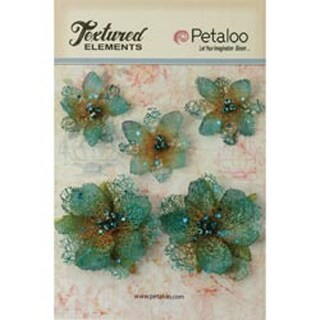Teal - Textured Elements Jeweled Flowers 5/Pkg