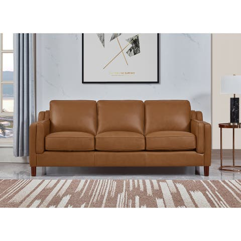 Hydeline Bella Top Grain Leather Sofa With Feather, Memory Foam and Springs