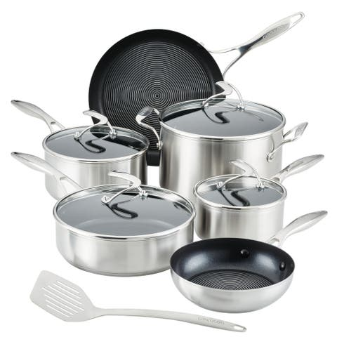 Circulon SteelShield S-Series Stainless Steel Nonstick Pots and Pans Cookware Set with Bonus Utensil, 10-pc