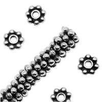 TierraCast Rhodium Plated Pewter Daisy Spacer Beads 4mm (50)