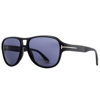 Tom Ford Dylan TF 446 01V Shiny Black Blue Men's Aviator Sunglasses - Shiny Black - 57mm-15mm-140mm