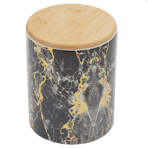Home Basics Marble Like Ceramic Canister with Bamboo Top, Black