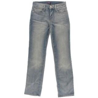 NYDJ Womens Petites Lift Tuck Technology Straight Leg Jeans - 0p