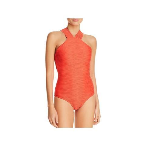 Shoshanna Womens Textured High-Neck One-Piece Swimsuit