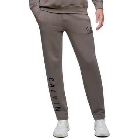 Calvin Klein Mens Sweatpants Brown Size XL Logo Drawstring Fleece Lined