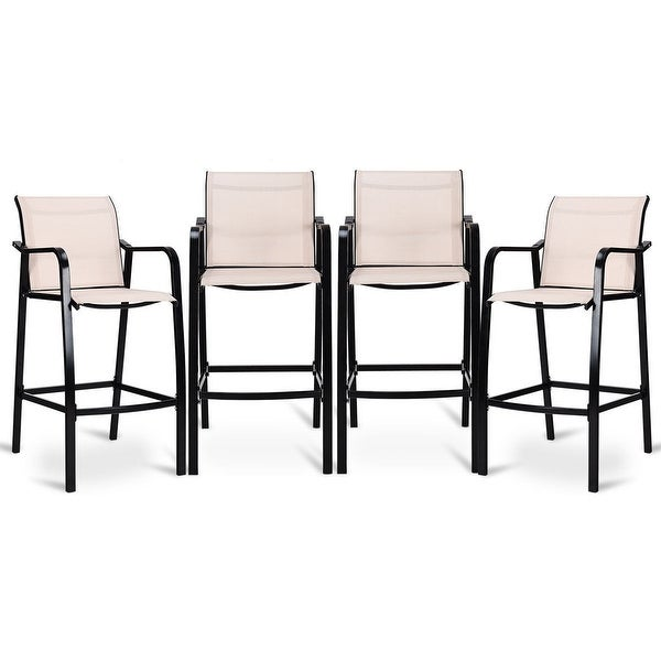 Shop Costway 4 Pcs Counter Height Stool Patio Chair Steel Frame