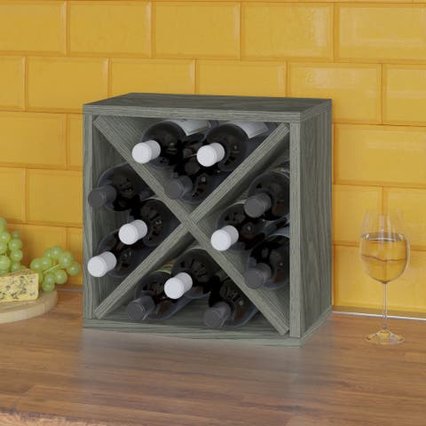 12-Bottle Wine Rack Cube Storage, Grey (Tool-Free Assembly and Uniquely Crafted from Sustainable Non Toxic zBoard Paperboard)
