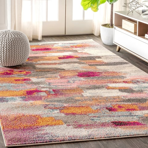 Contemporary POP Modern Abstract Brushstroke Cream/Pink Area Rug