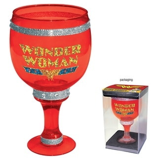 DC Comics Wonder Woman Bling Red Goblet