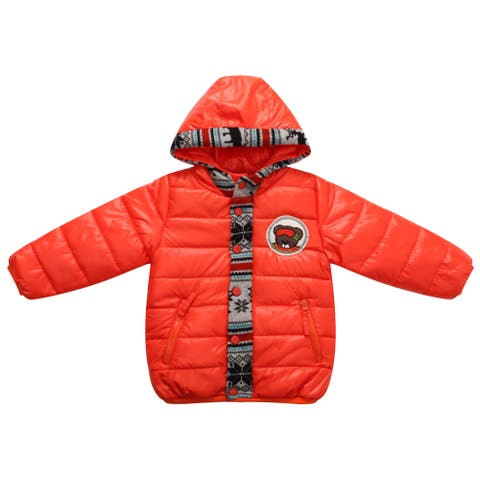 Richie House Boys' Red Padded Winter Jacket with Snowboarder Teddy Accents