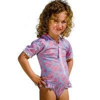 Sun Emporium Baby Girls Sky Blue Pink Siena Print Frill Swimsuit