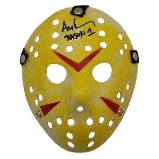 Ari Lehman Autographed Friday The 13th Replica Yellow Mask Jason1 BAS