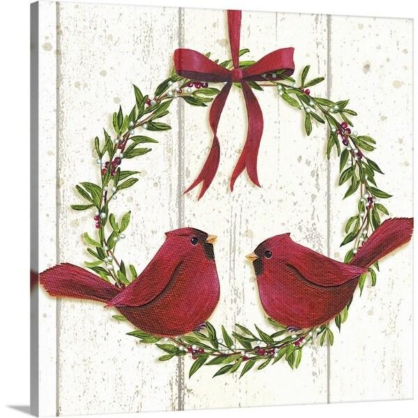 """Cardinal Wreath"" Canvas Wall Art"