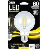 Feit Electric BPG2560827LED Globe G25 LED Light Bulb, 5 Watts, Clear