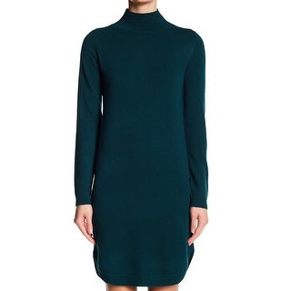 Philosophy NEW Green Women's Small S Mock Neck Sweater Dress Cashmere