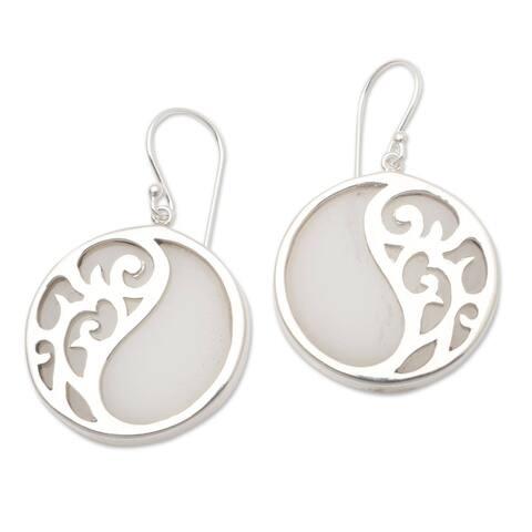 NOVICA Elegant Yin and Yang, Sterling silver and resin dangle earrings