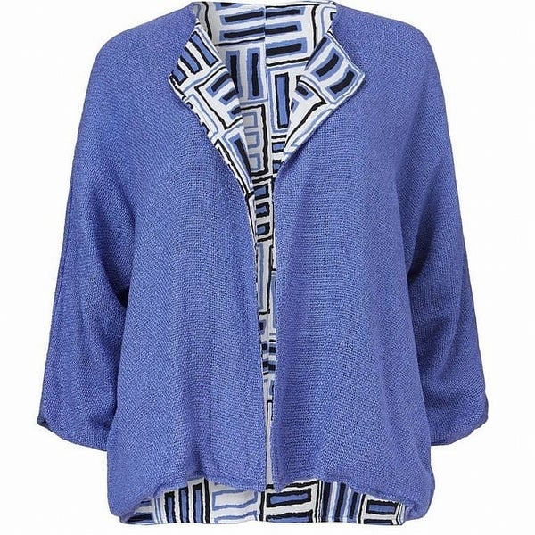 Masai Blue White Womens Size XL Reversible Open Front Jacket