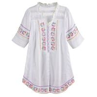Women's Gauzy White Tunic Top - Hand Embroidered Button Front Peasant Blouse
