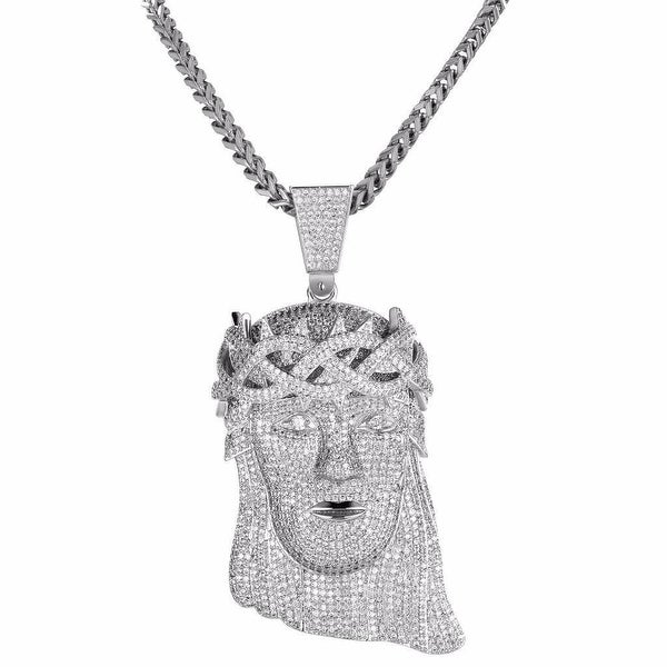 Silver Tone Iced Out Lab Diamonds Hip Hop Jesus Piece Chain 36""