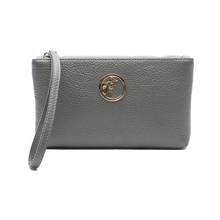 Versace Medusa Logo Leather Wristlet Handbag - Grey - S