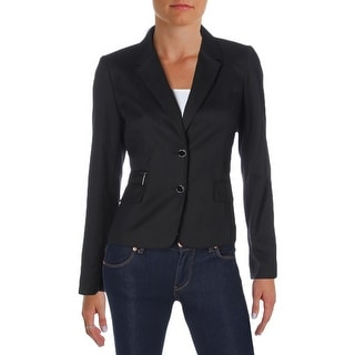 Calvin Klein Womens Petites Two-Button Blazer Twill Pinstripe