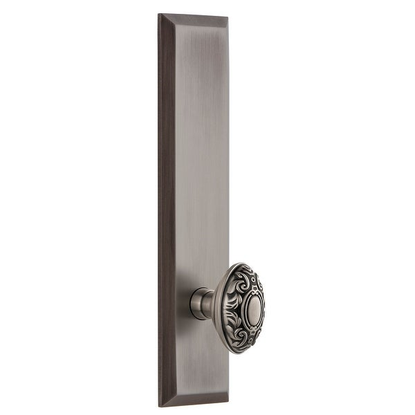 Grandeur FAVGVC_TP_PSG_234 Fifth Avenue Solid Brass Tall Plate Passage Door Knob Set with Grande Victorian Knob and 2-3/4""