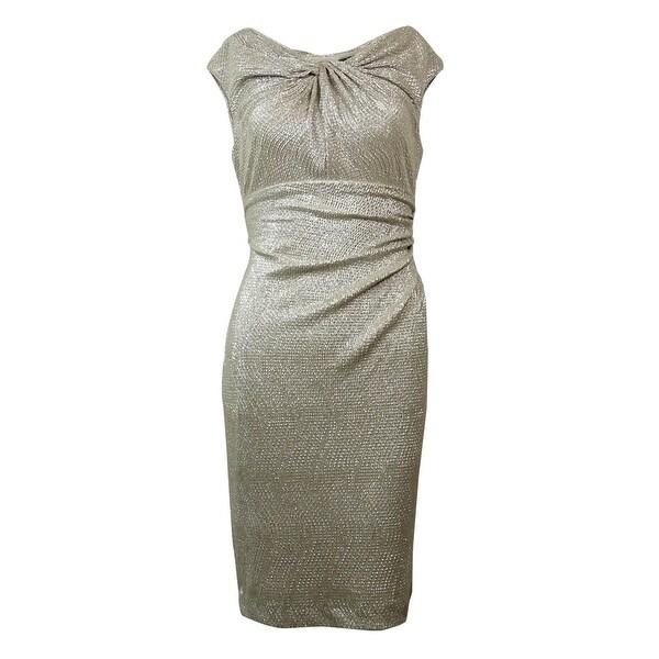 6d100017 Shop Lauren Ralph Lauren Women's Metallic Ruched Sheath Dress - White/Gold  - On Sale - Free Shipping Today - Overstock - 15014477
