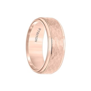 MUNDI Rose Tungsten Carbide Step Edge Comfort Fit Band with Center Hammered Texture by Triton Rings - 8mm