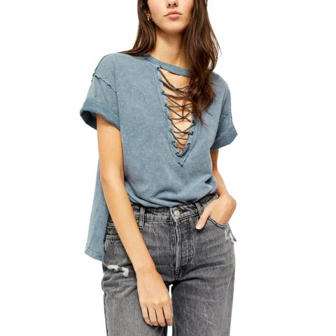 Free People Womens Top Blue Size Small S Plunged Cross-Cross V-Neck