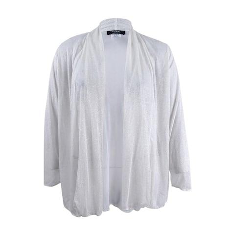 MSK Women's Plus Size Mesh Sparkle Jacket - Ivory
