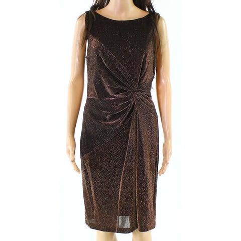 Calvin Klein Womens Shimmer Twist-Front Sheath Dress