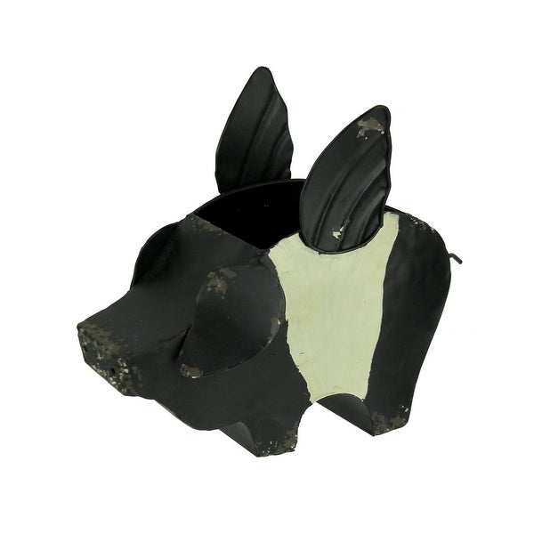 Black and White Metal Flying Pig Decorative Planter - 10 X 12 X 5.75 inches