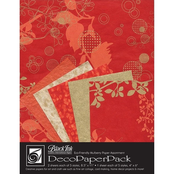 Black Ink - Decorative Paper Pack - Medium - Reds