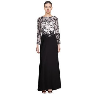 Tadashi Shoji Lace Bodice Contrast Long Sleeve Evening Gown Dress Black/White